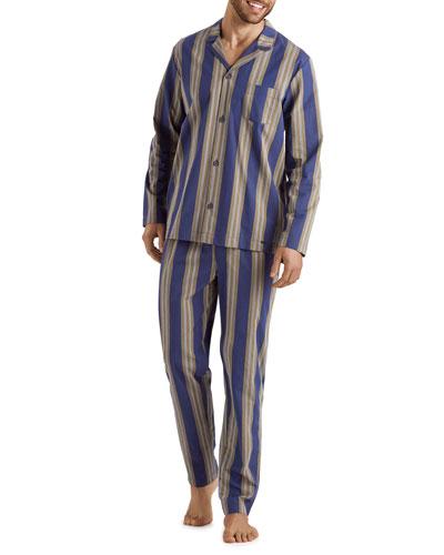 Men's Night & Day Striped Cotton Pajama Set