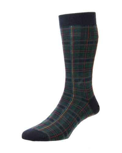 Men's Tartan Plaid Merino Wool-Blend Socks