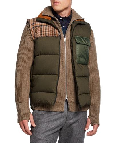 Men's Plaid-Shoulder Quilted Puffer Vest
