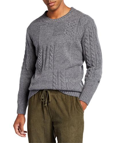 Men's Patchwork Cable-Knit Crewneck Sweater