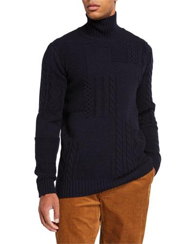 Men's x B Shop Patchwork Cable Sweater