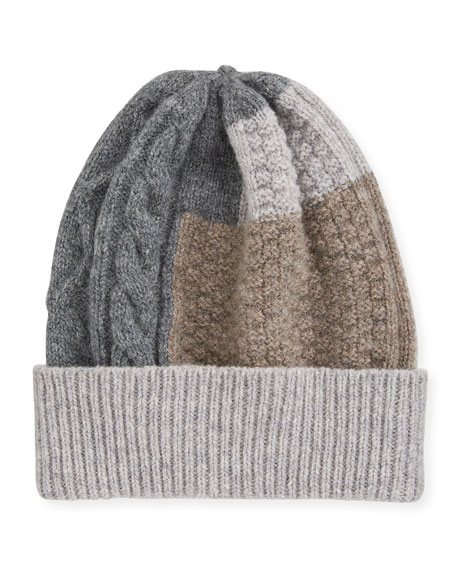 Image 1 of 1: Men's Patchwork Cable-Knit Watch Cap Beanie