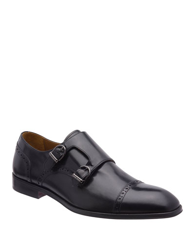 Men's Anzio Brogue Leather Double-Monk Loafers