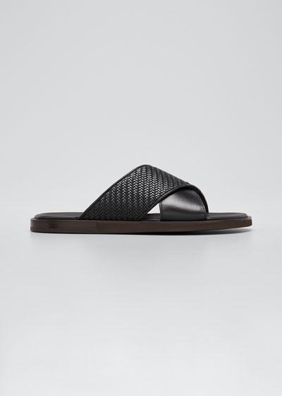Men's Pelle Tessuta Leather Slide Sandals