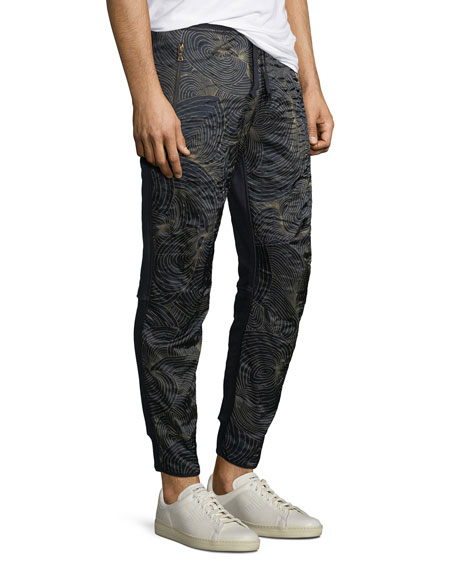 Swirl-Print Front Pull-On Sweatpants
