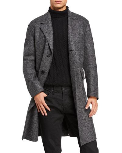 Men's Pressed-Wool Drop-Shoulder Overcoat