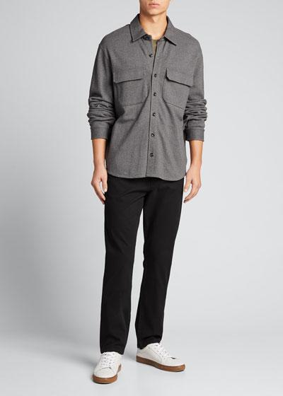 Men's Solid Stretch-Poplin Shirt Jacket
