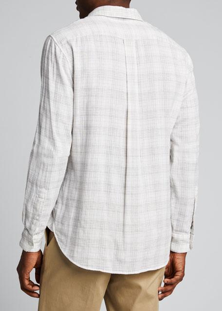 Men's Double-Face Grid Plaid Sport Shirt