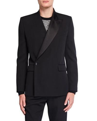 Men's Asymmetric One-Button Jacket