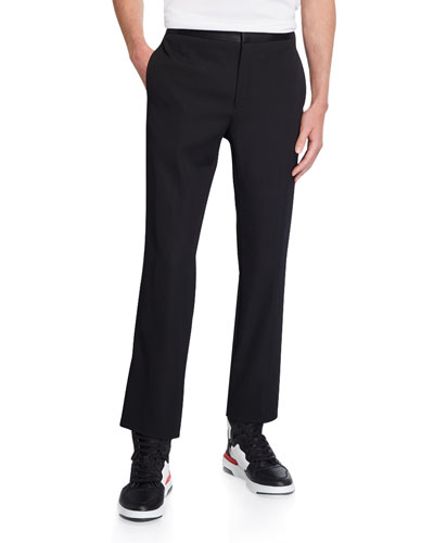 Men's Skinny Cropped Trousers with Satin Waistband