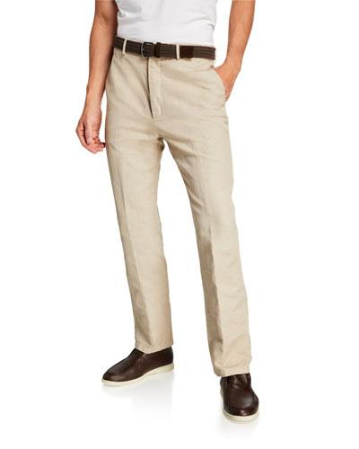 Men's Straight-Leg Linen-Blend Pants