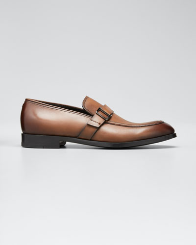 Men's Leather Buckle-Strap Loafers