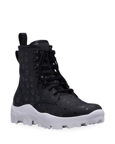 Men's Logo Group Visetos Faux-Leather Boots