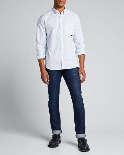 Men's Narrow-Stripe Point-Collar Sport Shirt