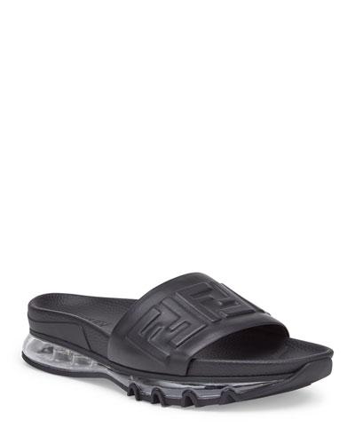 Men's Clear-Sole Logo Slide Sandals