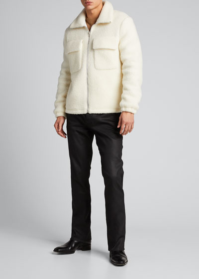 Men's Plush Teddy Oversized Zip-Front Sweater