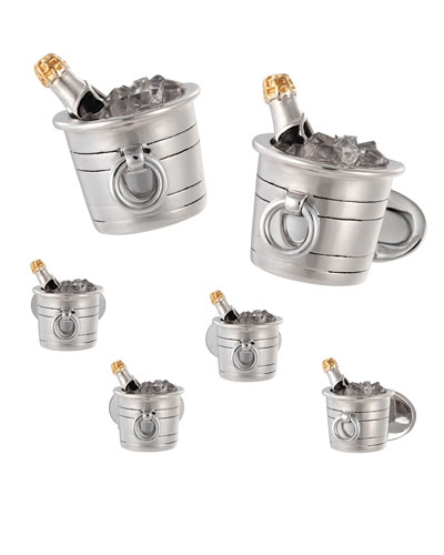 Men's Champagne Bucket Cufflink & Stud Set
