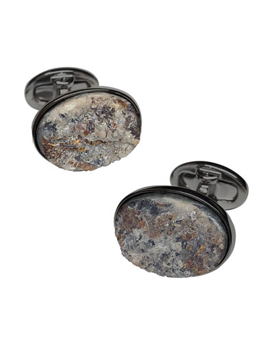 Oval Astrophyllite Cufflinks on Matte Gunmetal