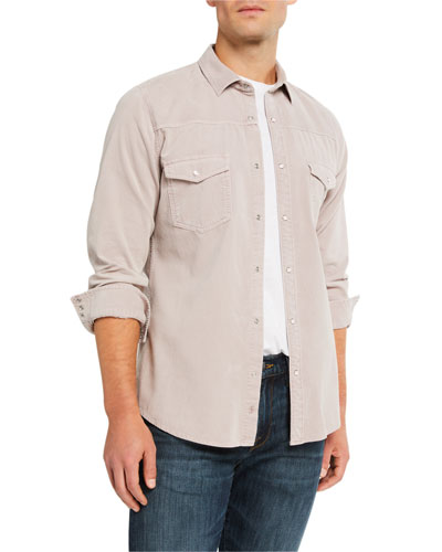 Men's Slim-Fit Corduroy Western Sport Shirt