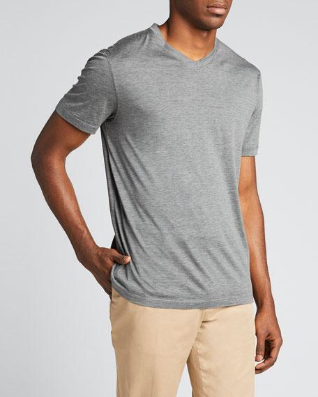Men's V-Neck Short-Sleeve Sweater T-Shirt