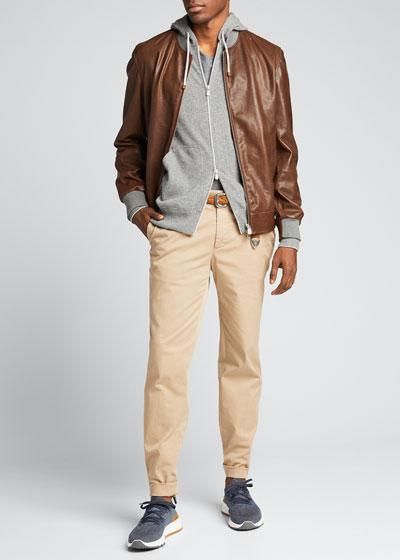 Men's Knit-Trim Leather Jacket