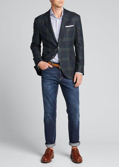 Men's Large Plaid Linen-Blend Sport Jacket