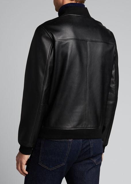 Men's Brenton Rhodes Lamb Leather Bomber Jacket