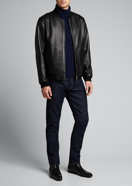 Image 1 of 1: Men's Brenton Rhodes Lamb Leather Bomber Jacket