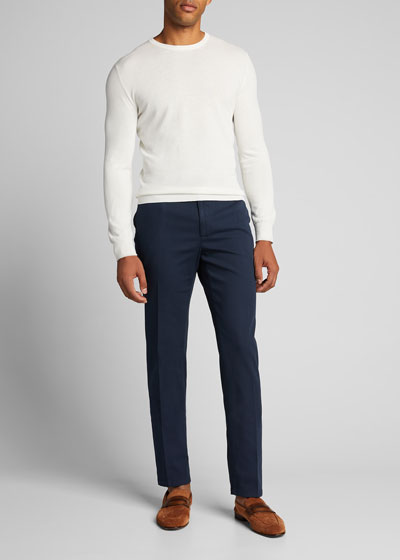 Men's Stone-Textured Flat-Front Pants
