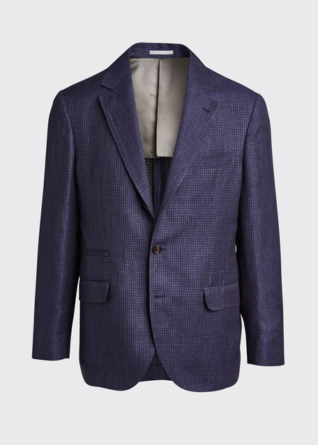 Men's Houndstooth Double-Face Two-Button Jacket