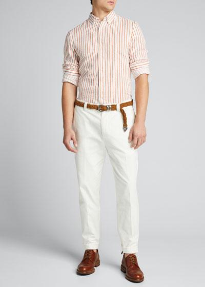 Men's Speckled Striped Linen Sport Shirt