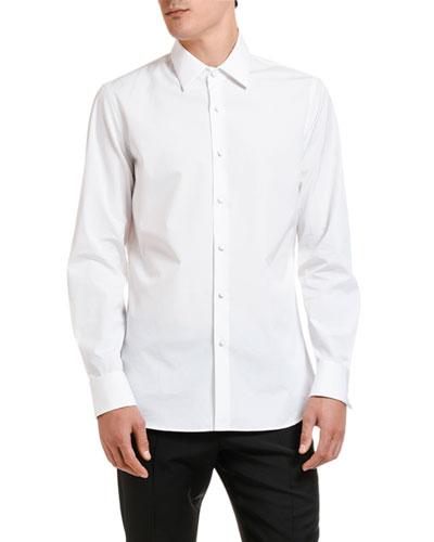 Men's Solid Point-Collar Sport Shirt