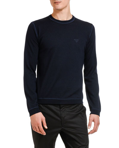 Men's Lana Wool Sweater with Contrast Stitching