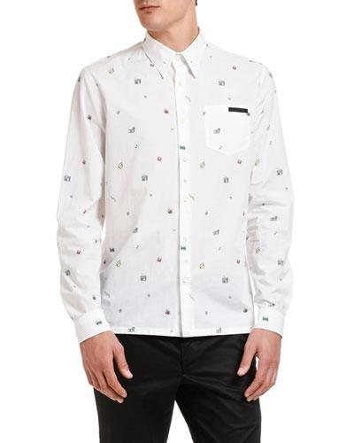 Men's Poplin Toys Point-Collar Sport Shirt