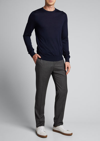 Men's Flat-Front Straight-Leg Pants