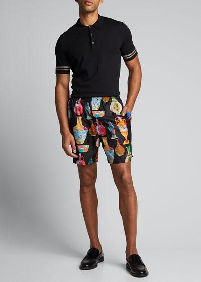 Men's Vase-Print Silk Shorts