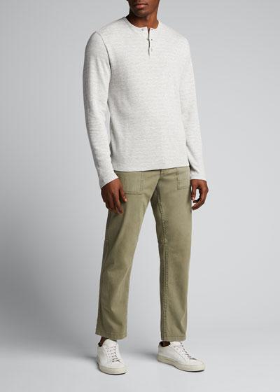 Men's Long-Sleeve Striped Henley Shirt