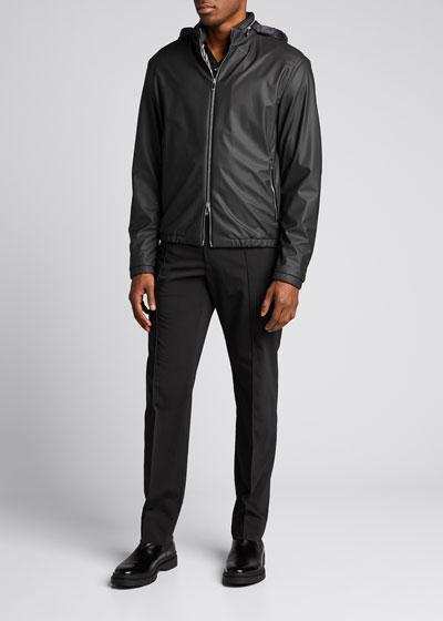 Men's Light Faux-Leather Jacket w/ Jacquard Lining