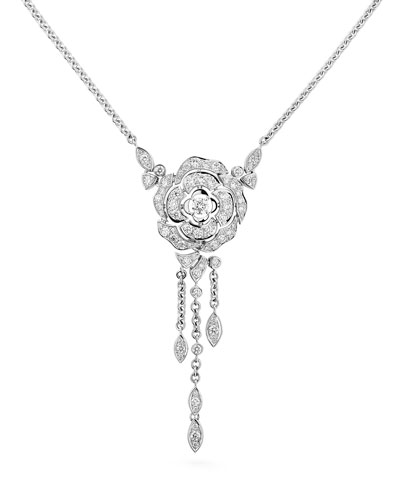 BOUTON DE CAMELIA Necklace in 18K White Gold and Diamonds