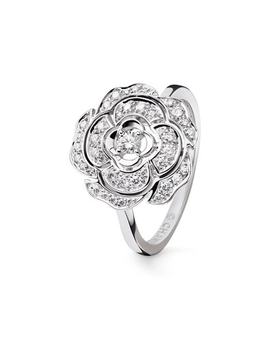 BOUTON DE CAMELIA Ring in 18K White Gold and Diamonds