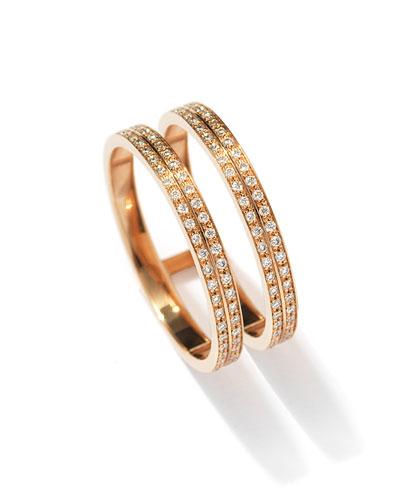 Berbere Two-Row Diamond Ring in 18K Rose Gold