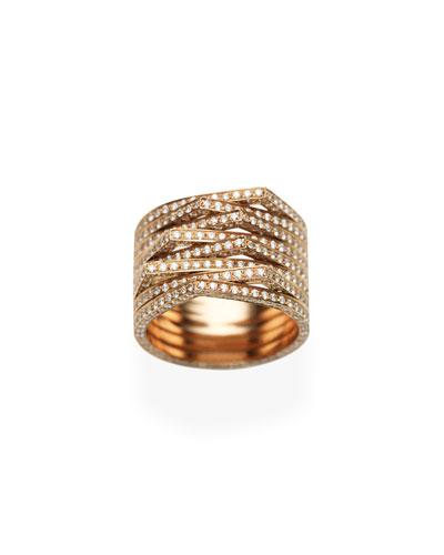 Antifer Eight-Row Ring with Diamonds in 18K Black Gold