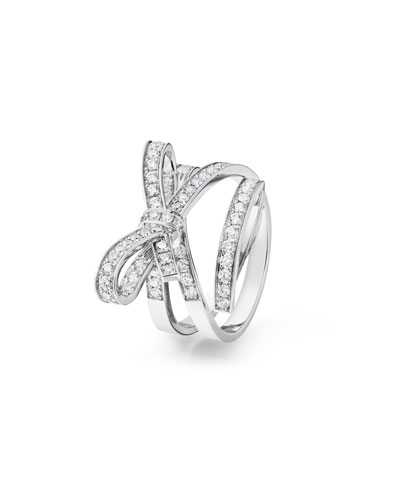 Ruban Medium 18K White Gold Ring with Diamonds, Size 54