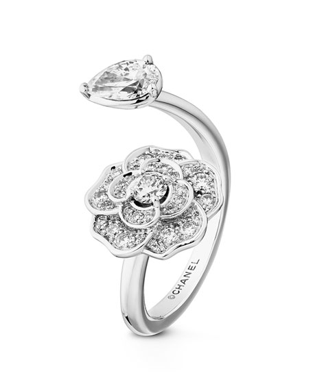 CAMELIA PRECIEUX Open Ring in 18K White Gold and Diamonds