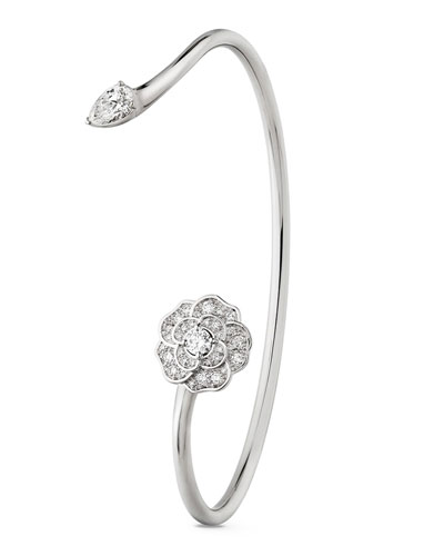 CAMELIA PRECIEUX Open Bracelet in 18K White Gold and Diamonds