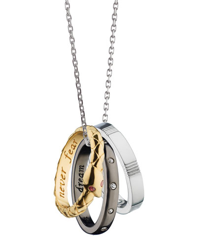 18K Yellow Gold and Sterling Silver Empowerment Poesy Ring Necklace