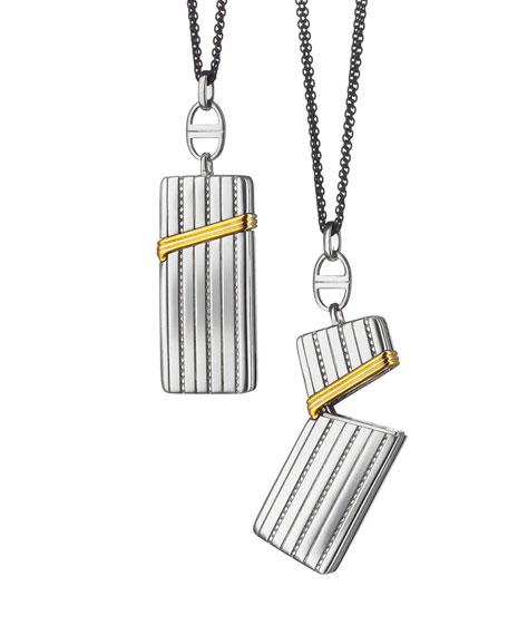 "Silver & 18k Yellow Gold Secret Box Pendant Necklace, 32"""