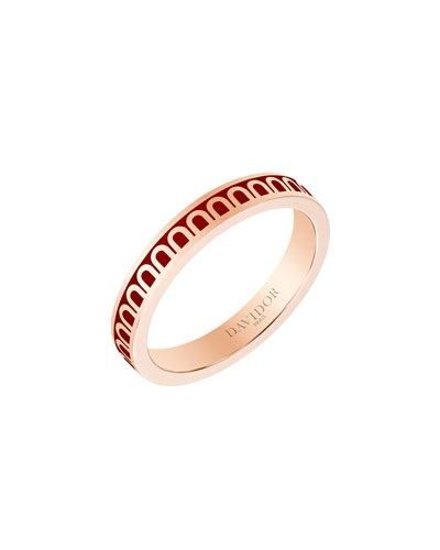 L'Arc de Davidor 18k Rose Gold Ring - Petite Model  Bordeaux  Sz. 6