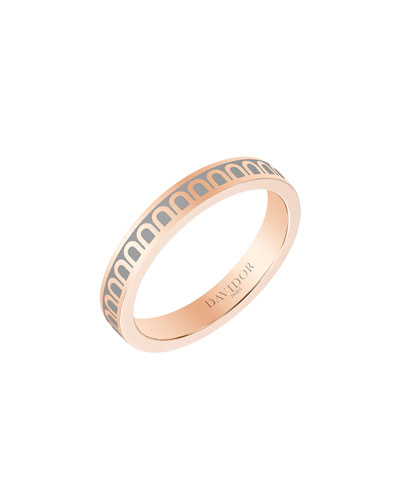 L'Arc de Davidor 18k Rose Gold Ring - Petite Model  Anthracite  Sz. 6