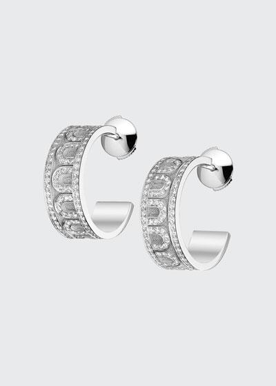 L'Arc de Davidor 18k White Gold Diamond Hoop Earrings